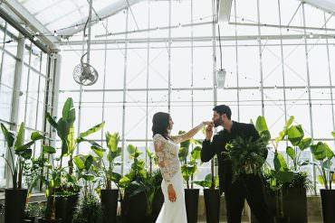 Botanical Greenhouse Michigan Wedding with a First Look