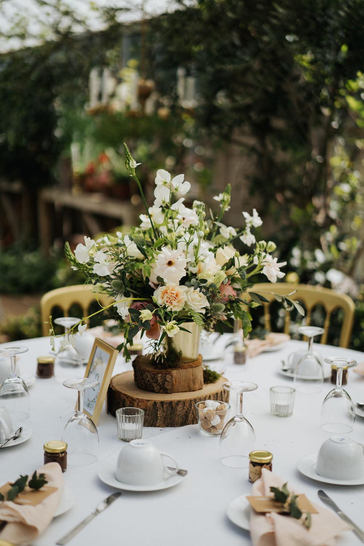 Table Flowers Centrepiece Decor Log Slice Greenhouse Wedding Kit Myers Photography