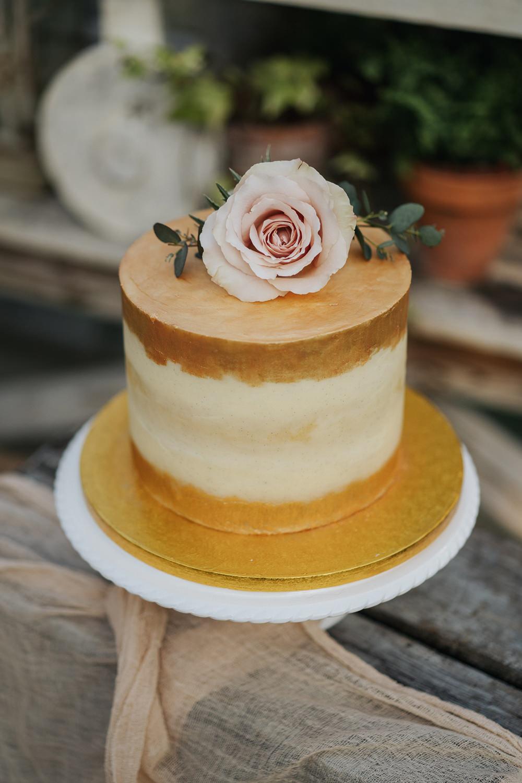 Cake Gold Naked Fabric Silk Flowers Rose Greenhouse Wedding Kit Myers Photography