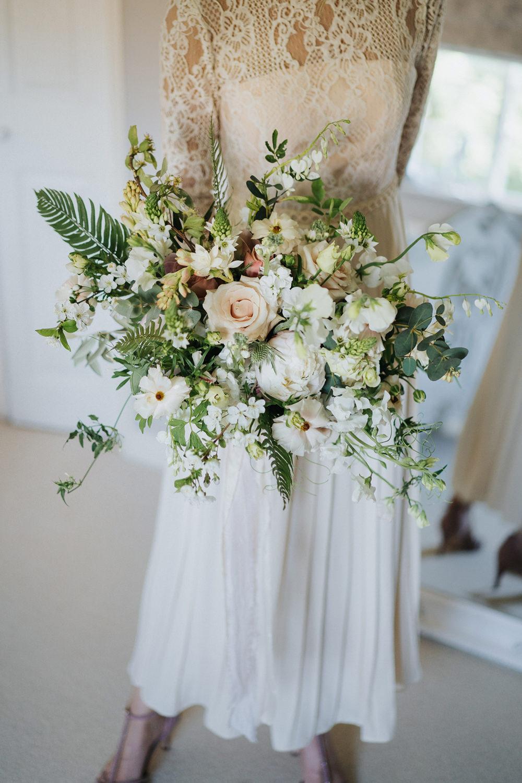 Bouquet Flowers Bride Bridal Wild Natural Dusky Pink Ribbon Peony Stocks Rose Greenery Foliage Greenhouse Wedding Kit Myers Photography