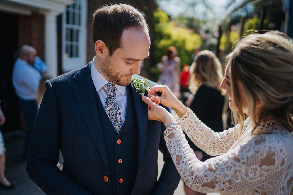 Groom Suit Navy Tweed Tie Greenhouse Wedding Kit Myers Photography