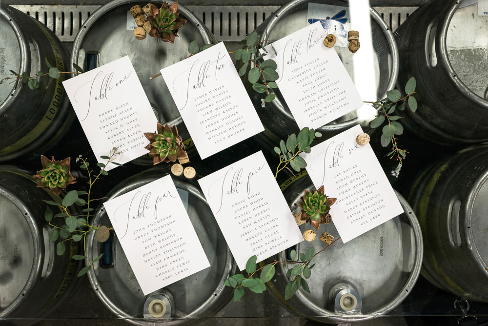 Beer Barrel Seating Plan Table Chart Calligraphy Greenery Indie Wedding Ideas Kat Antos-Lewis Photography