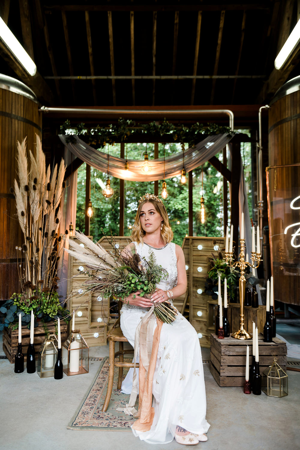 Decor Decoration Backdrop Ceremony Fetoon Lights Edison Lightbulbs Flower Arch Pampas Grass Crates Candles LOVE Letters Indie Wedding Ideas Kat Antos-Lewis Photography