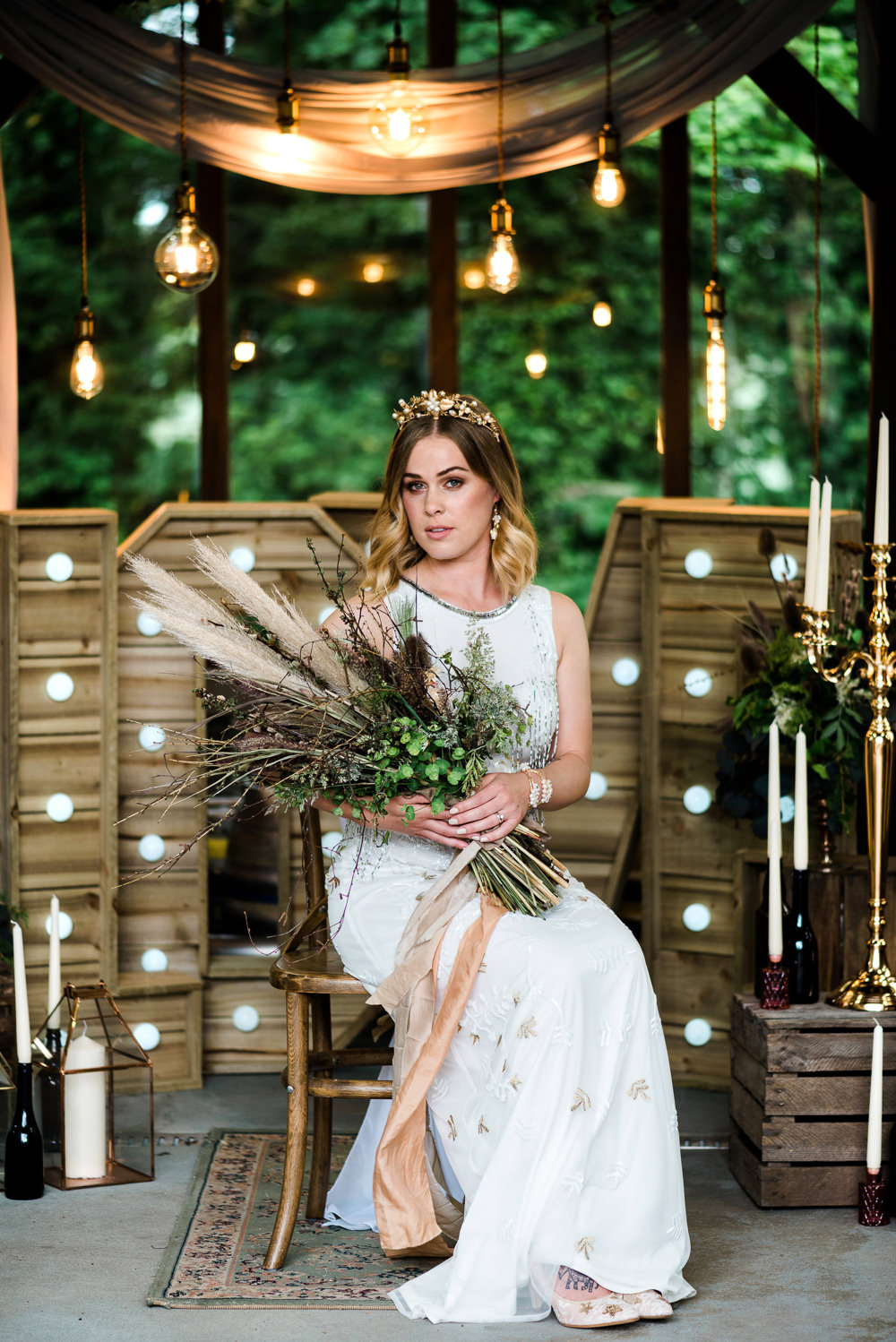 Dress Gown Bride Bridal Sheath Embellished Indie Wedding Ideas Kat Antos-Lewis Photography