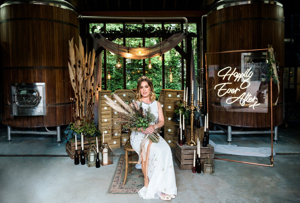 Decor Decoration Backdrop Ceremony Fetoon Lights Edison Lightbulbs Flower Arch Pampas Grass Crates Candles LOVE Letters Neon Sign Signs Signage Indie Wedding Ideas Kat Antos-Lewis Photography