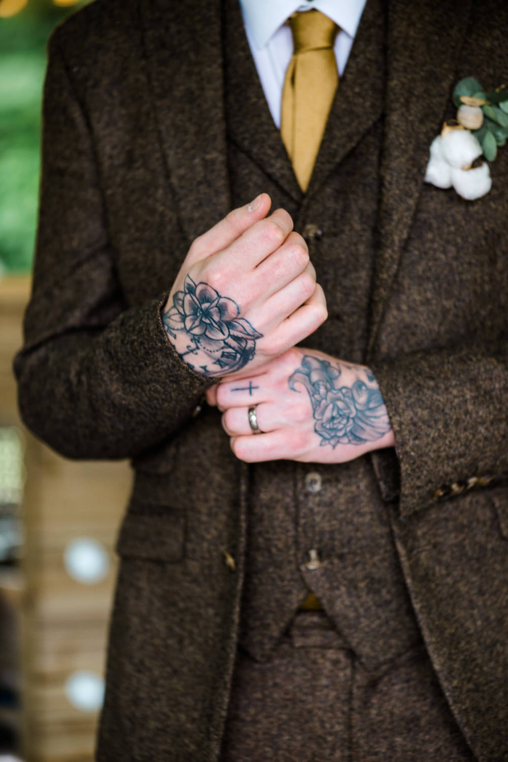 Groom Suit Brown Tweed Gold Tie Waistcoat Indie Wedding Ideas Kat Antos-Lewis Photography