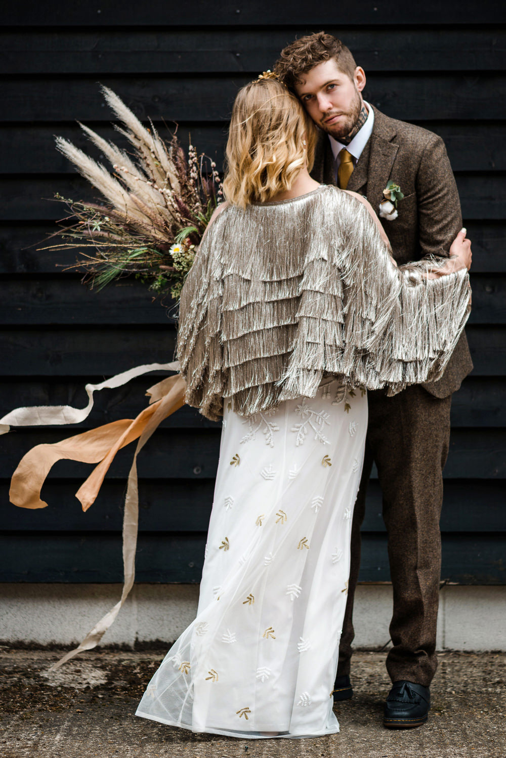 Indie Wedding Ideas Kat Antos-Lewis Photography Bride Bridal Jacket Accessory Fringe Tassel