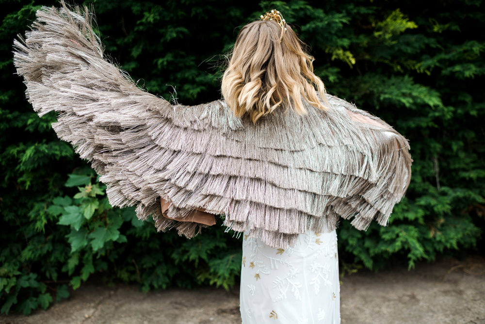 Bride Bridal Jacket Accessory Fringe Tassel Indie Wedding Ideas Kat Antos-Lewis Photography