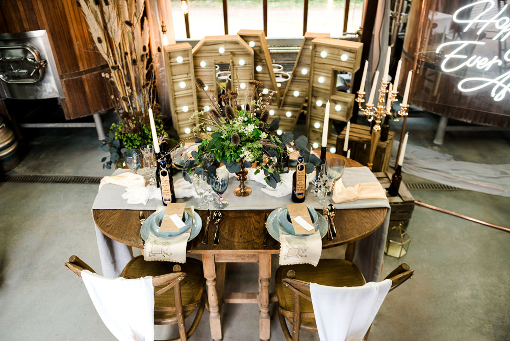 Table Tablescape Decor Decoration Flowers Candles Rustic Indie Wedding Ideas Kat Antos-Lewis Photography
