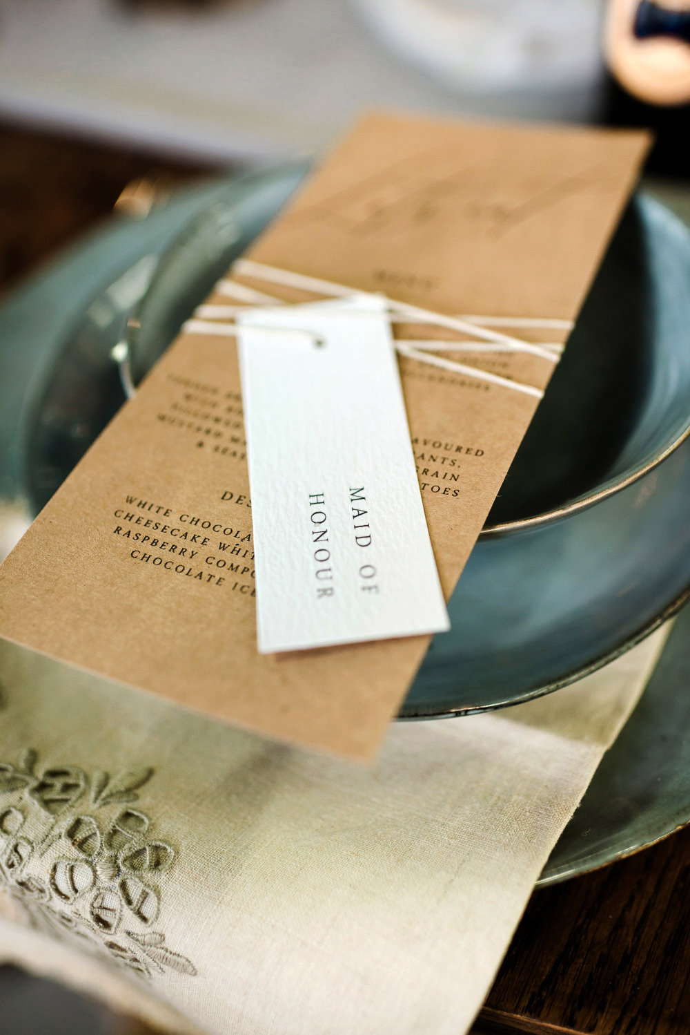 Place Setting Plate Decor Menu Place Name Tag Indie Wedding Ideas Kat Antos-Lewis Photography