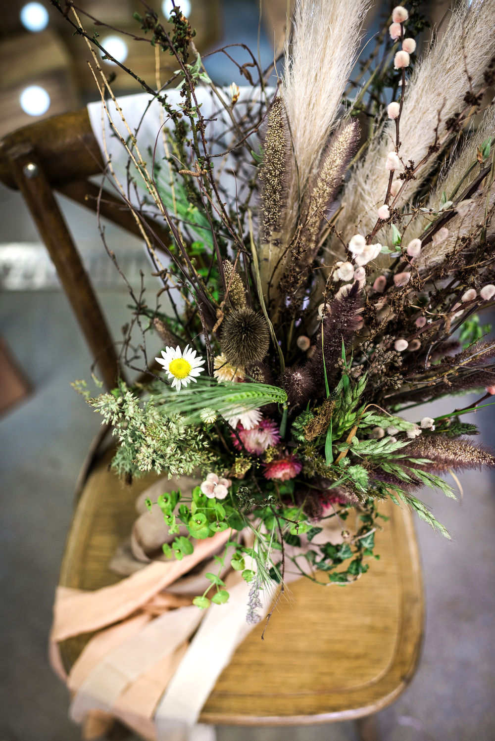 Bouquet Flowers Bride Bridal Ribbon Pampass Grass Dried Thistles Poppy Heads Seeds Indie Wedding Ideas Kat Antos-Lewis Photography