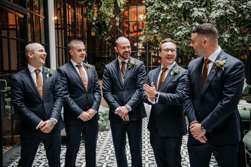 Navy Suit Groom Groomsmen Rust Tie Grey Waistcoat Manchester Wedding Kazooieloki Photography