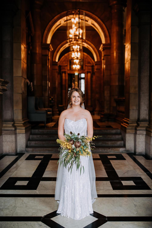 Bride Bridal Strapless Sequin Embellished Dress Gown Train Veil Manchester Wedding Kazooieloki Photography