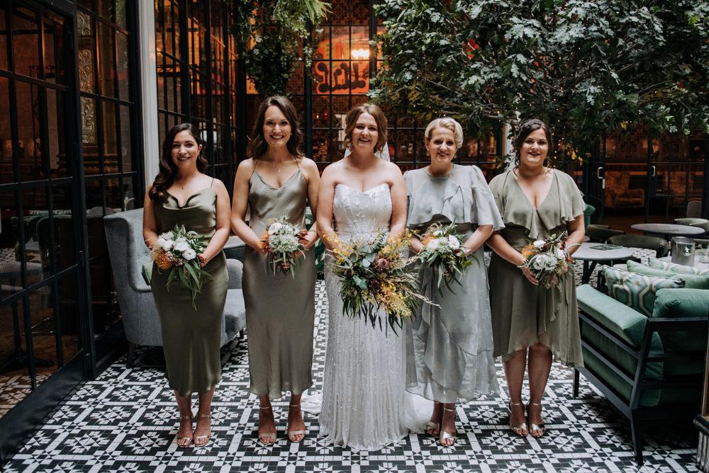 Bride Bridal Strapless Sequin Embellished Dress Gown Train Veil Mismatched Olive Green Bridesmaids Manchester Wedding Kazooieloki Photography