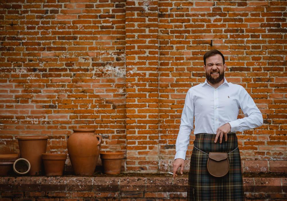 Kilt Groom Oxnead Hall Wedding Luis Holden Photography