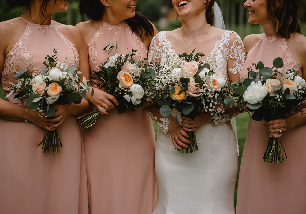 Bouquet Flowers Bride Bridal Peach Cream Peony Rose Bridesmaids Oxnead Hall Wedding Luis Holden Photography