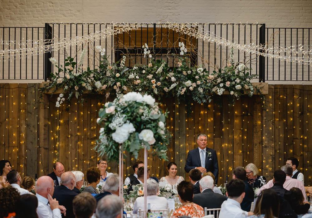 Tall Copper Flower Arrangements Centrepiece Decor Fairy Lights Oxnead Hall Wedding Luis Holden Photography