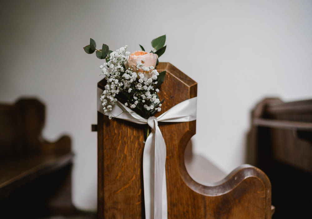 Pew End Flowers Aisle Decor Ribbon Oxnead Hall Wedding Luis Holden Photography