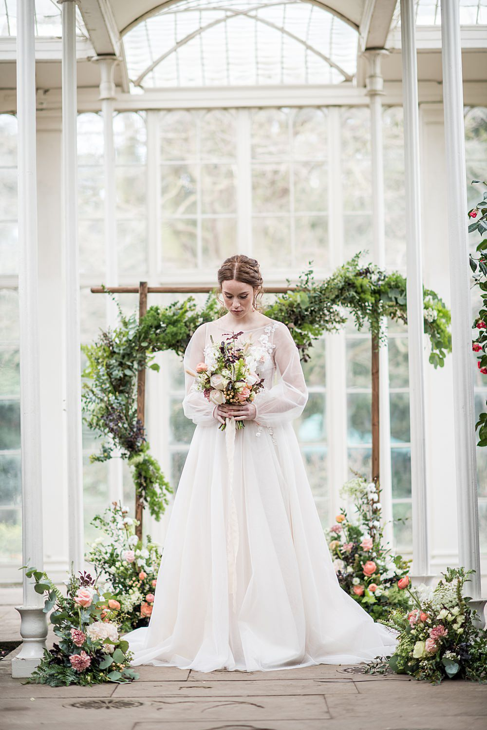 Peach Gold Wedding Ideas Jane Beadnell Photography Flower Arch Arbour Backdrop Floral Wild Natural Greenery Foliage