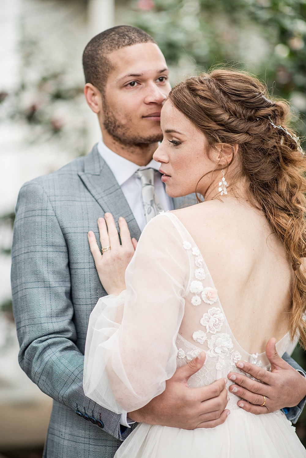 Bride Bridal Hair Style Up Do Half Up Half Down Plaits Braids Waves Peach Gold Wedding Ideas Jane Beadnell Photography