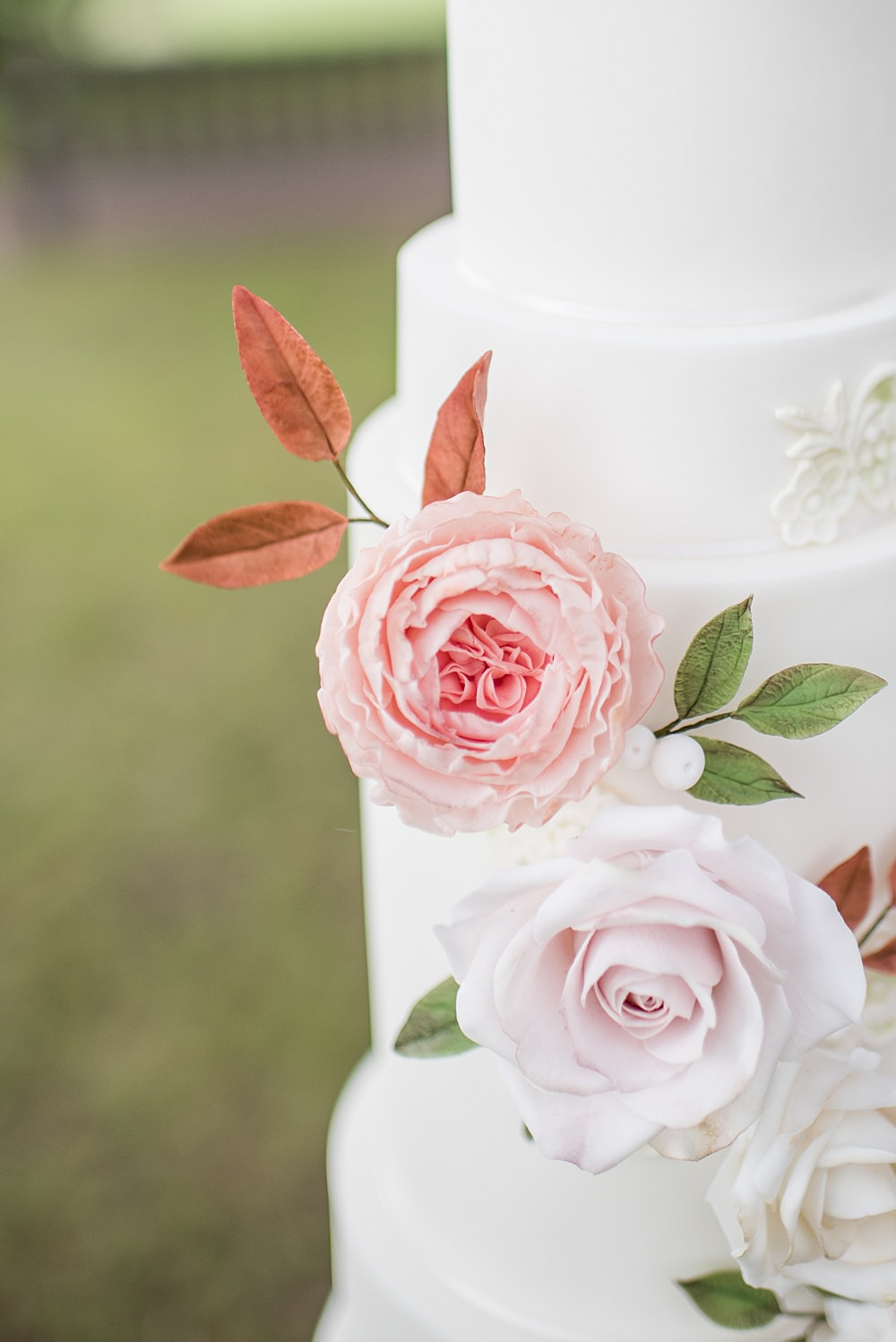 Flower Floral Cake Peach Gold Wedding Ideas Jane Beadnell Photography
