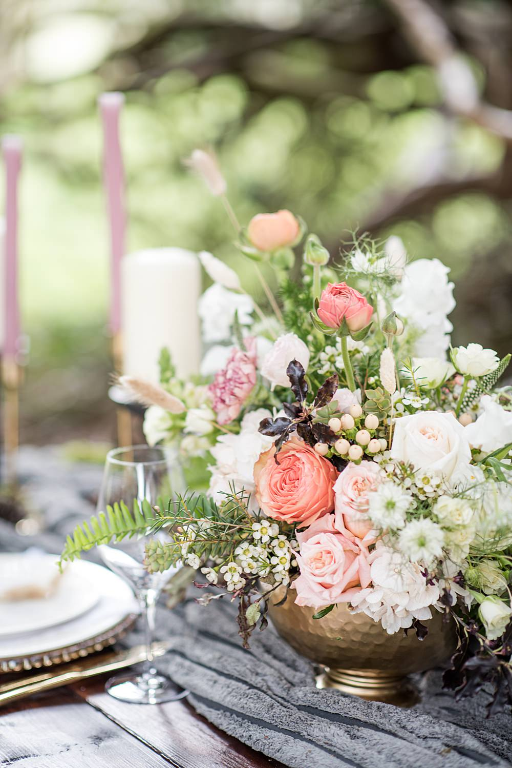 Flowers Urn Arrangement Floral Coral Greenery Foliage Rose Peach Gold Wedding Ideas Jane Beadnell Photography