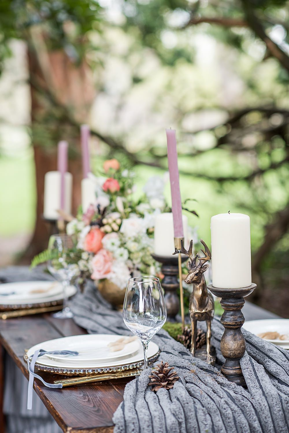 Table Tablescape Decor Decoration Grey Fur Velvet Ribbon Candles Flowers Animal Ornaments Peach Gold Wedding Ideas Jane Beadnell Photography