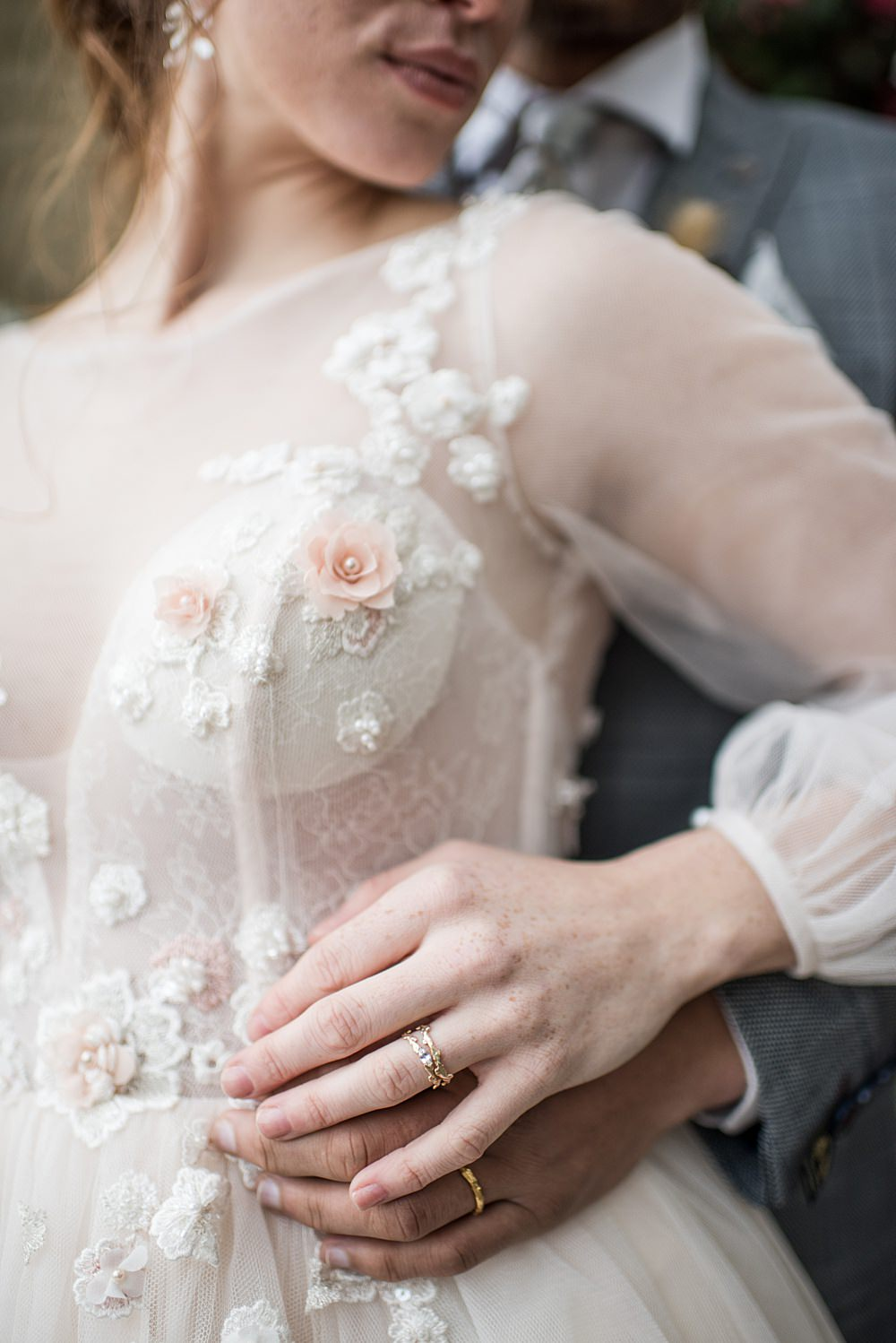 Dress Gown Bride Bridal Floral Tulle Sleeves Skirt Peach Gold Wedding Ideas Jane Beadnell Photography