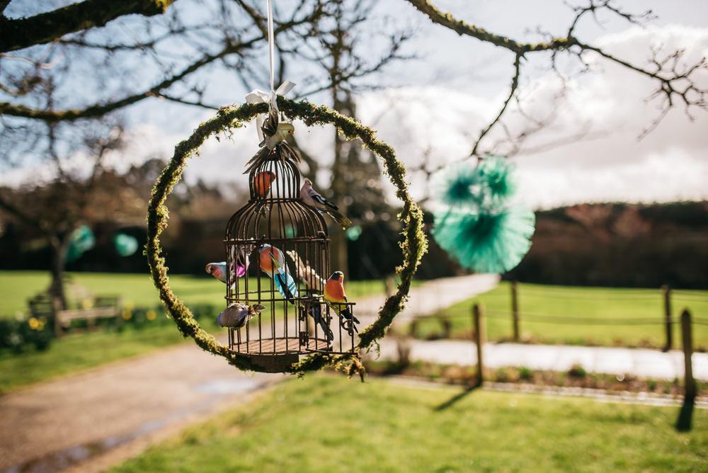 Birdcage Greenery Foliage Wreath Hoop Quirky Rustic Charm Wedding Justin Bailey Photography