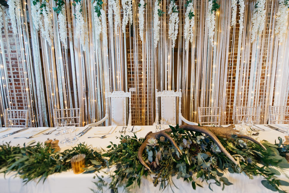 Top Table Ribbon Backdrop Quirky Rustic Charm Wedding Justin Bailey Photography