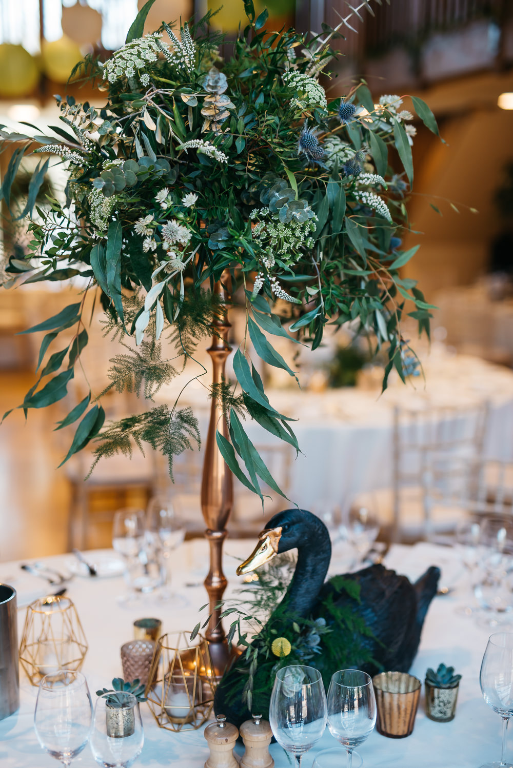 Table Centre Tall Pedestal Greenery Foliage Quirky Rustic Charm Wedding Justin Bailey Photography