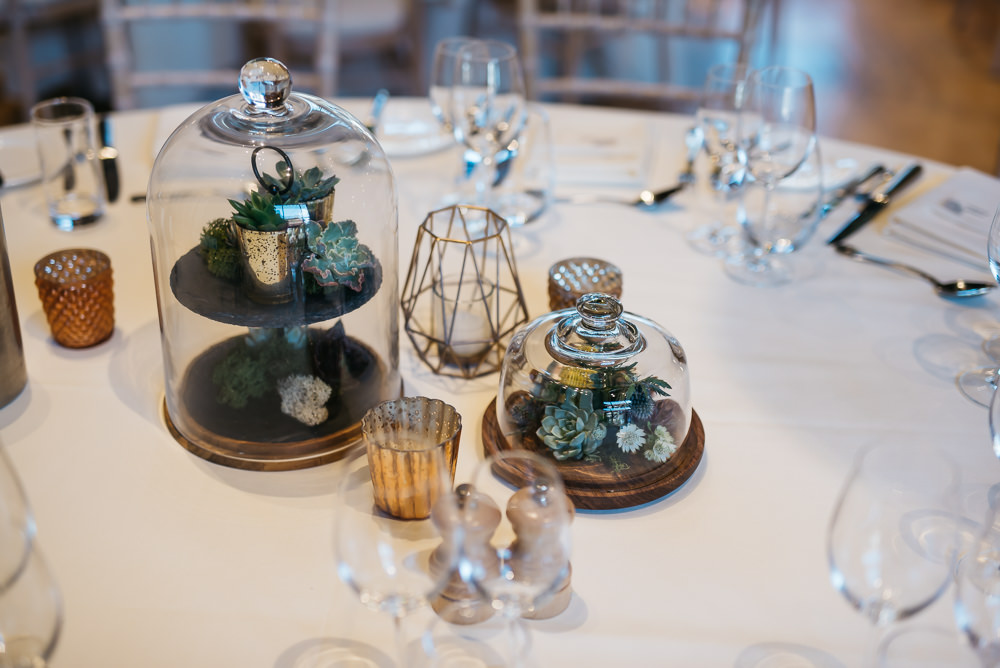 Table Centre Glass Bell Jar Cloche Quirky Rustic Charm Wedding Justin Bailey Photography