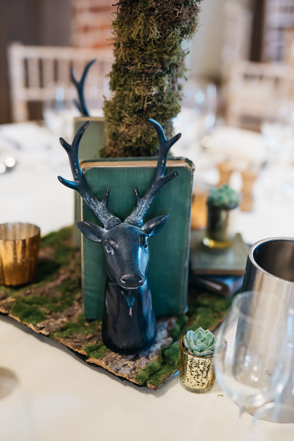 Table Centre Tree Book Ends Stag Quirky Rustic Charm Wedding Justin Bailey Photography