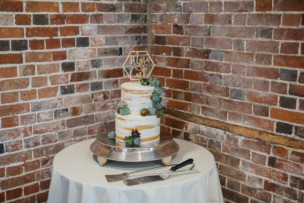 Cake Semi Naked Buttercream Geometric Laser Cut Topper Quirky Rustic Charm Wedding Justin Bailey Photography