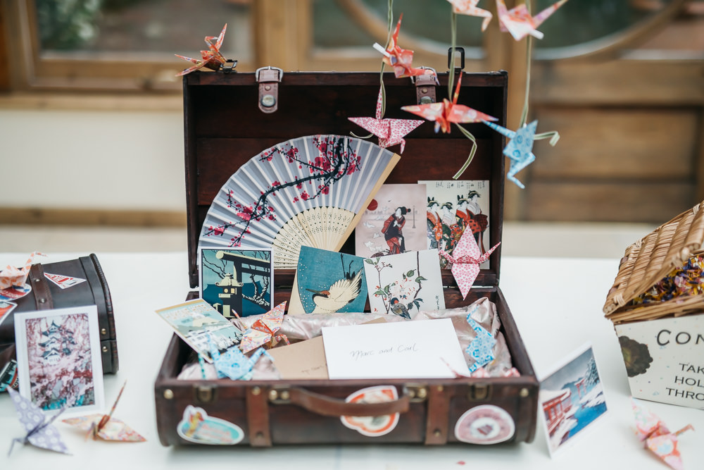 Japanese Card Vintage Suitcase Origami Paper Cranes Quirky Rustic Charm Wedding Justin Bailey Photography