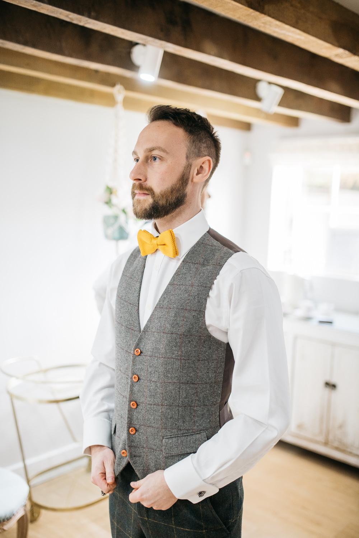 Tweed Waistcoat Groom Yellow Bow Tie Quirky Rustic Charm Wedding Justin Bailey Photography