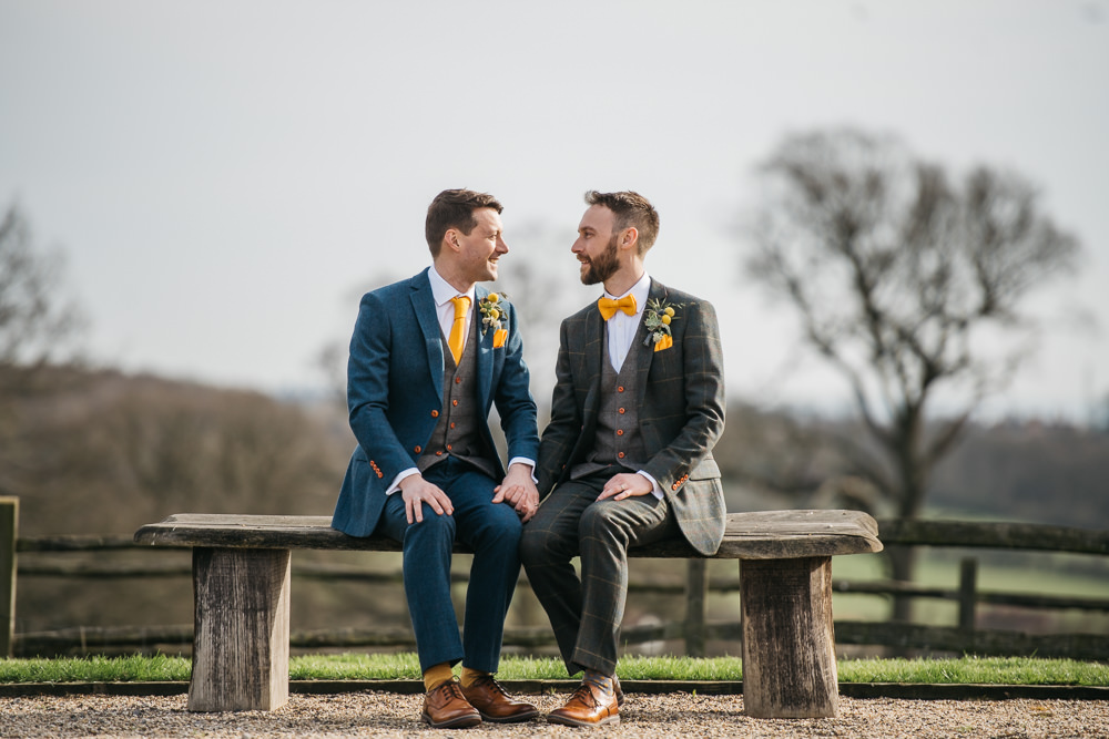 Checked Tweed Suit Three Piece Waistcoat Groom Yellow Bow Tie Blue Grey Quirky Rustic Charm Wedding Justin Bailey Photography