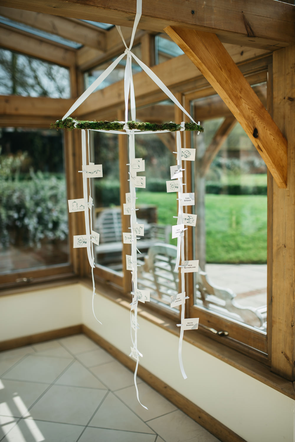 Escort Cards Hanging Moss Quirky Rustic Charm Wedding Justin Bailey Photography