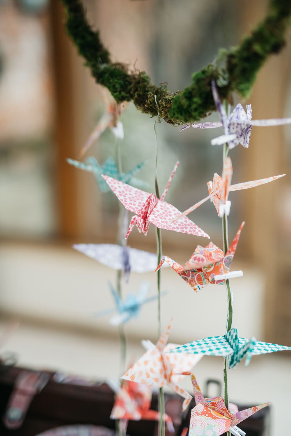 Origami Paper Cranes Quirky Rustic Charm Wedding Justin Bailey Photography