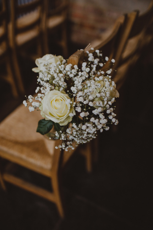 Gypsophila White Rose Pew End Aisle Decor Rustic Country Barn Wedding Photography34