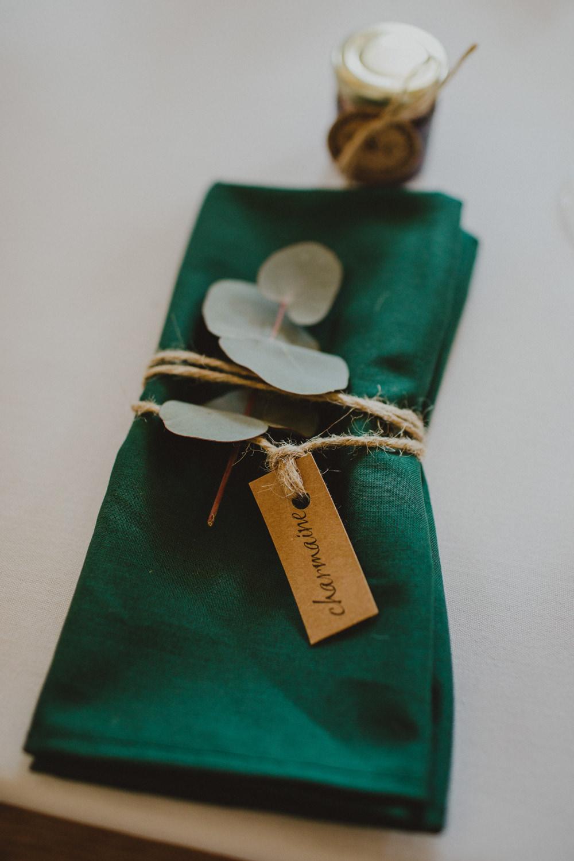 Green Napkin Eucalyptus Twine Rustic Country Barn Wedding Photography34
