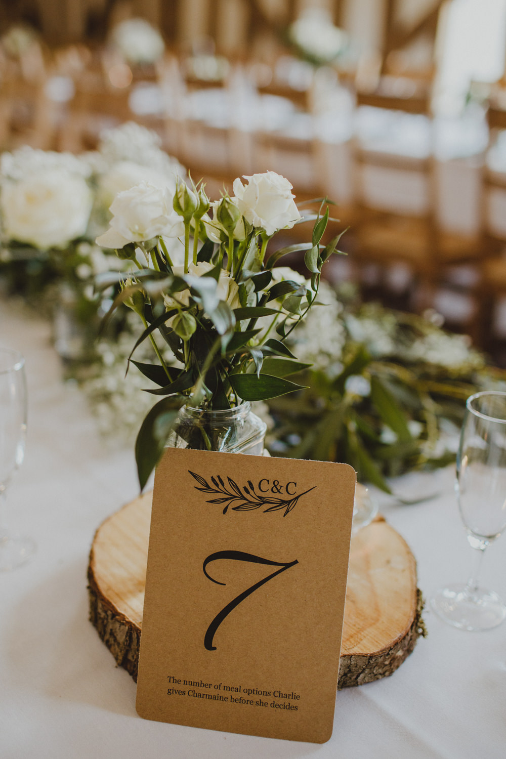 Table Number Wood Slice White Flowers Floral Rustic Country Barn Wedding Photography34