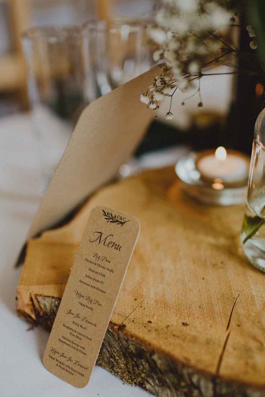 Menu Brown Paper Wood Slice Gypsophila Rustic Country Barn Wedding Photography34