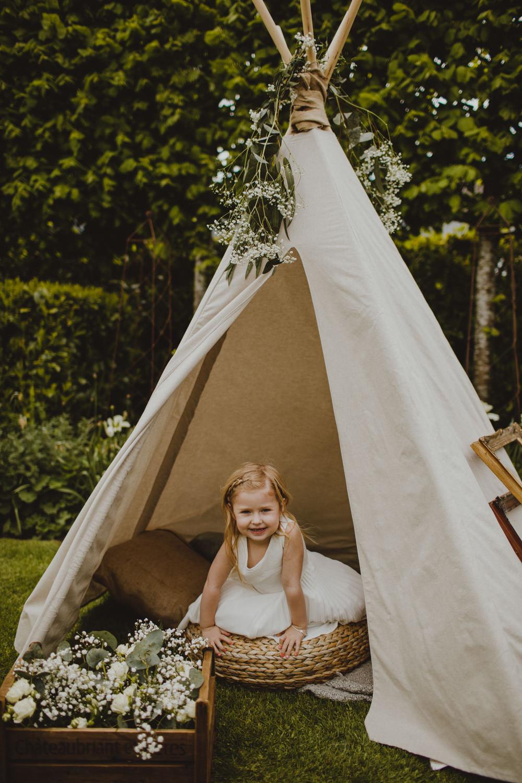 Tipi Childrens Corner Greenery Gypsophila Rustic Country Barn Wedding Photography34