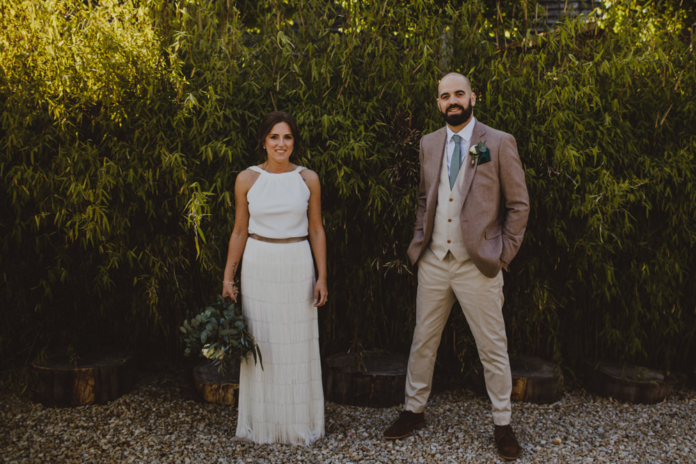 Bride Bridal Separates Fringed Skirt Charlie Brear Halter Neck Top Three Piece Suit Waistcoat Chinos Groom Rustic Country Barn Wedding Photography34