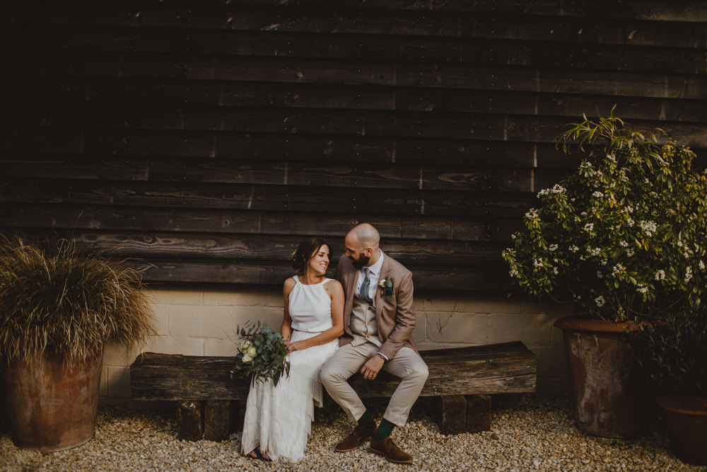 Bride Bridal Separates Fringed Skirt Charlie Brear Halter Neck Top Three Piece Suit Waistcoat Chinos Groom Green Tie Rustic Country Barn Wedding Photography34