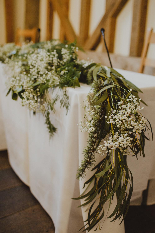 Greenery Foliage Eucalyptus Gypsophila Table Runner Garland Rustic Country Barn Wedding Photography34