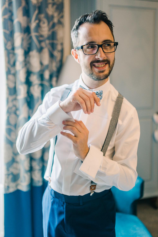Groom Braces Bow Tie Saltmarshe Hall Wedding Jessica Davies Photography
