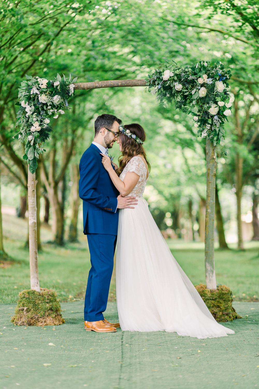 Flower Arch Arbour Ceremony Aisle Backdrop Greenery Foliage Saltmarshe Hall Wedding Jessica Davies Photography