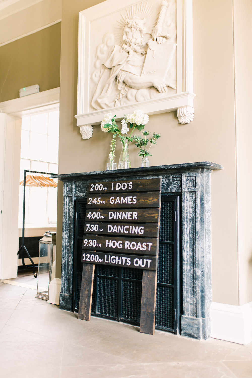Wooden Sign Signage Signs Order of the Day Saltmarshe Hall Wedding Jessica Davies Photography